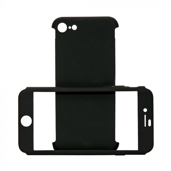 Carcasa iPhone 8 / 7 Just Must Defense 360 Black (3 piese: protectie spate, protectie fata, folie st