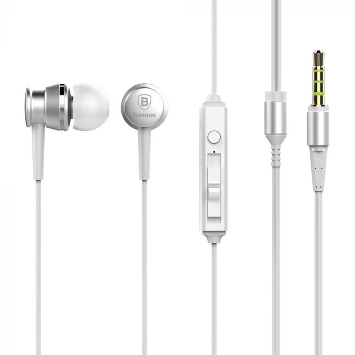 Casti Jack 3.5mm Baseus Lark Silver (in-ear)