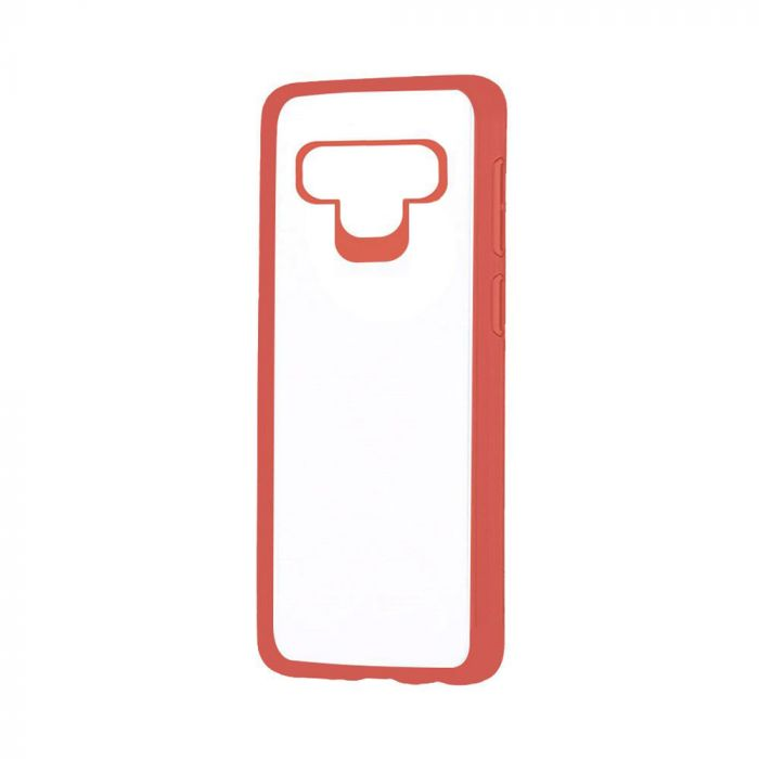 Carcasa Samsung Galaxy Note 9 Just Must Pure Simple Red (spate transparent, margini cauciucate)
