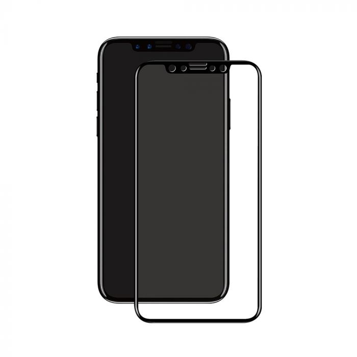 Folie iPhone XS / X Eiger Sticla 3D Edge to Edge Clear Black (0.33mm, 9H, perfect fit, curved, oleop