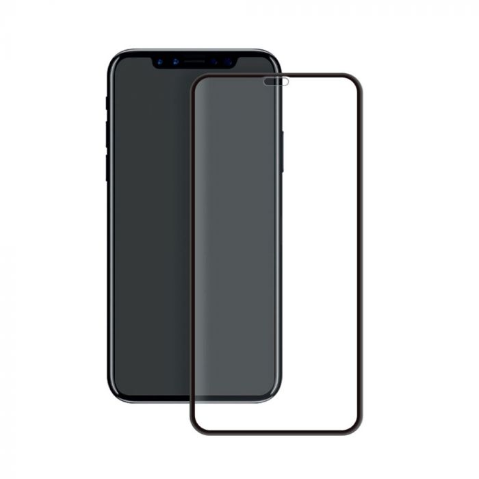 Folie iPhone XR Eiger Sticla 3D Edge to Edge Clear Black (0.33mm, 9H, perfect fit, curved, oleophobi