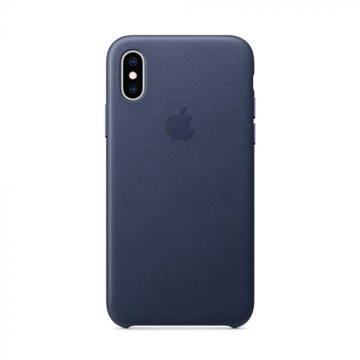 Carcasa iPhone XS Apple Leather Midnight Blue (piele naturala)