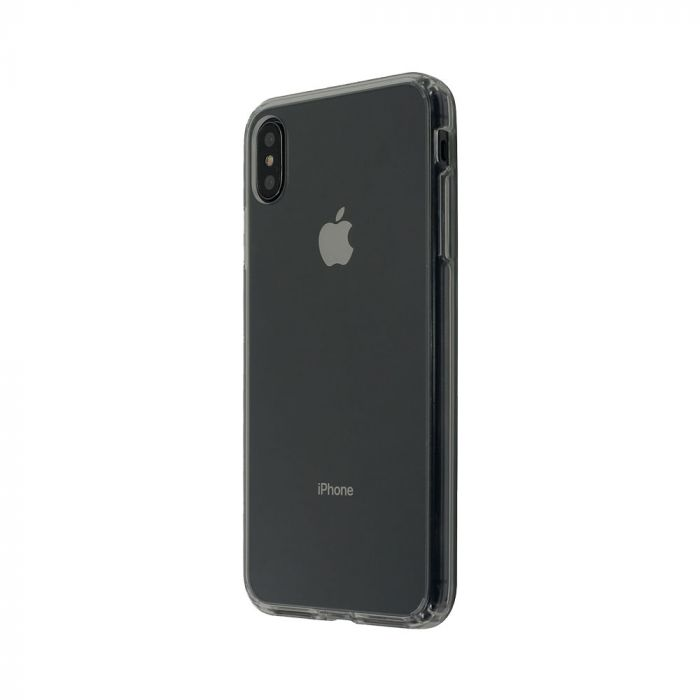 Carcasa iPhone XS Max Just Must Pure II Black (spate transparent, margini flexibile)