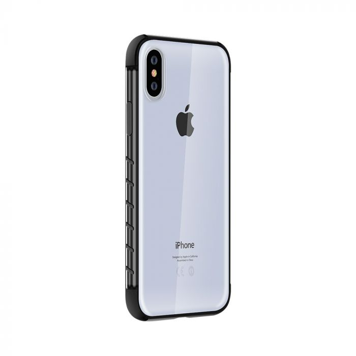 Carcasa iPhone XS Max Devia Dulax Series Black (spate dur transparent si margini antishock)