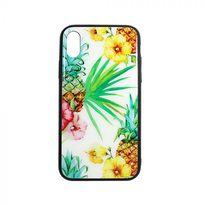 Carcasa Sticla iPhone XS / X Just Must Glass Diamond Print White with Pineapple and Flowers