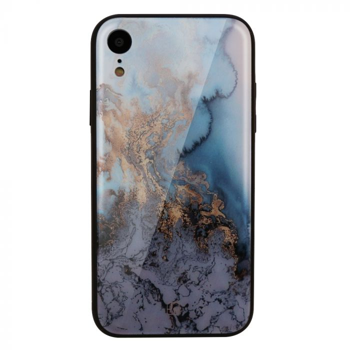 Carcasa Sticla iPhone XR Just Must Glass Print Blue Marble