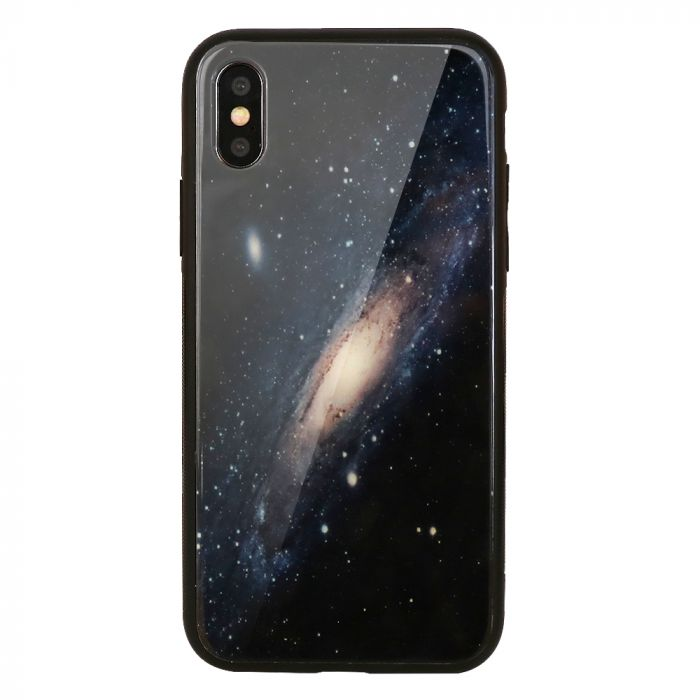 Carcasa Sticla iPhone XS / X Just Must Glass Print Galaxy