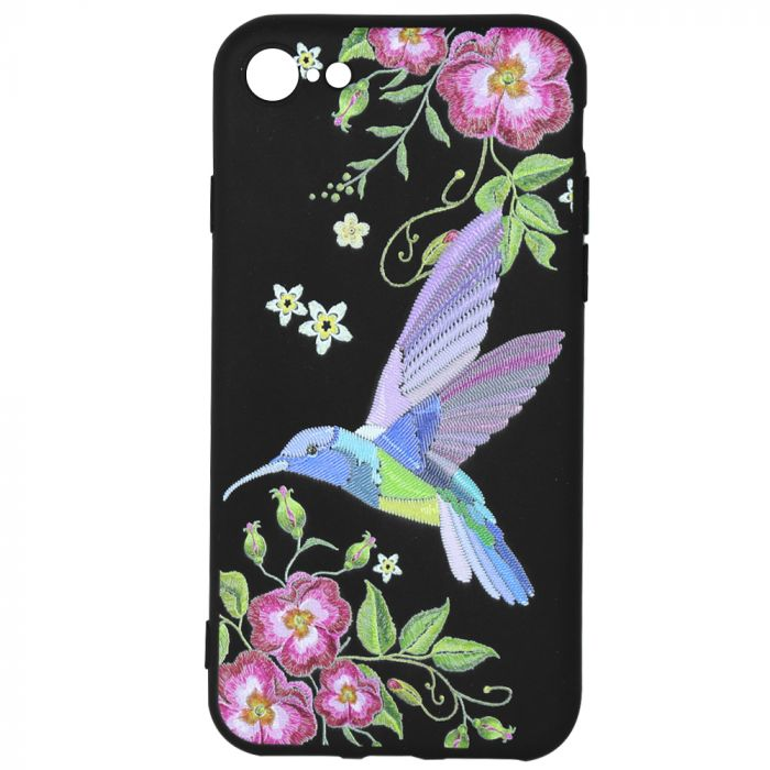 Husa iPhone 8 / 7 Just Must Silicon Printed Embroidery Colibri