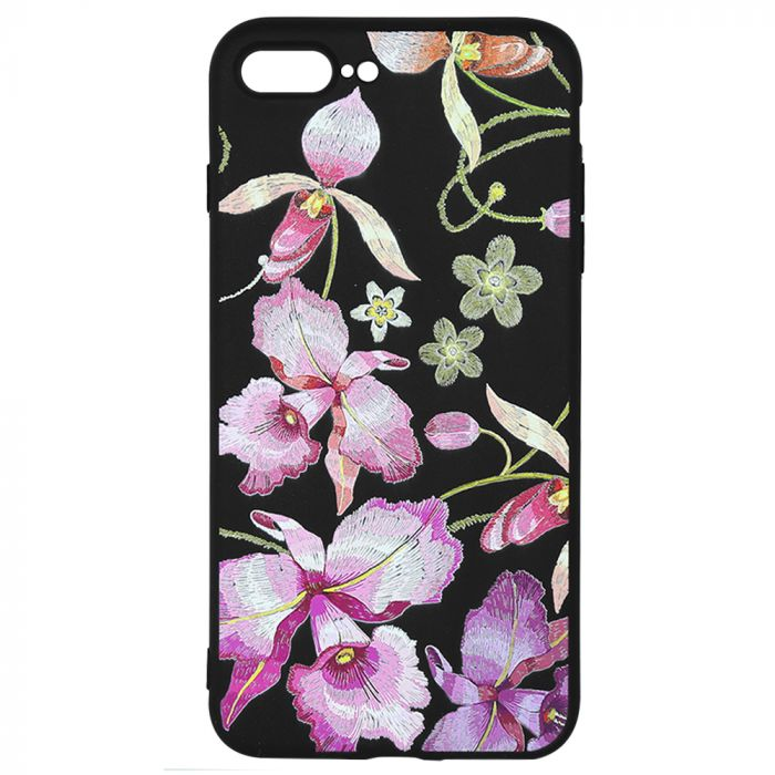 Husa iPhone 8 Plus / 7 Plus Just Must Silicon Printed Embroidery Pink Flowers