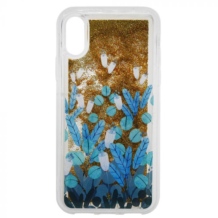 Carcasa iPhone XS / X Lemontti Liquid Sand Blue Flowers