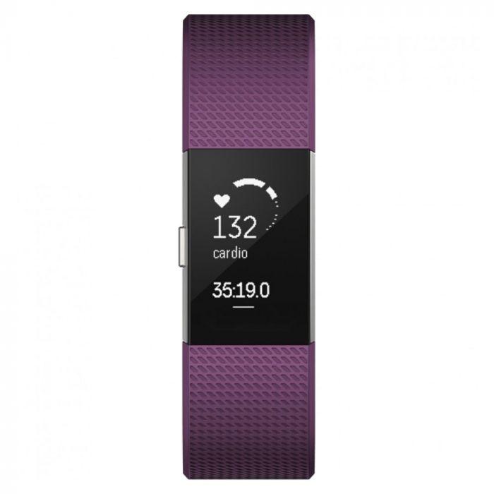 Fitbit Bratara Fitness Charge 2 Plum Silver Marimea L
