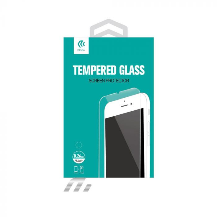 Folie iPhone 6 Plus Devia Sticla Temperata (1 fata Anti-Shock + 1 spate Clear, 9H, 2.5D, 0.26mm)