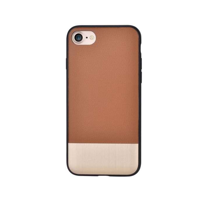 Carcasa iPhone 8 / 7 Devia Commander Brown (piele naturala, margini flexibile)