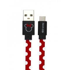 Cablu Disney USB MicroUSB Minnie Dots Red