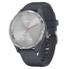 Smartwatch Garmin Vivomove 3S Silver, Silicone Granite Blue (carcasa din otel)