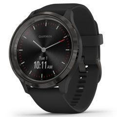 Smartwatch Garmin Vivomove 3 Gunmetal, Silicone Black (carcasa din otel)