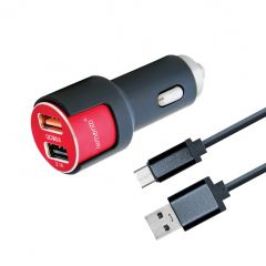 Resigilat Incarcator Auto MicroUSB Lemontti Qualcomm 3.0 Dual USB Negru-Rosu 3.1A (cablu detasabil)