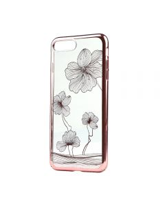 Carcasa iPhone 8 Plus / 7 Plus Comma Crystal Flora 360 Rose Gold (Cristale Swarovski®, electroplacat