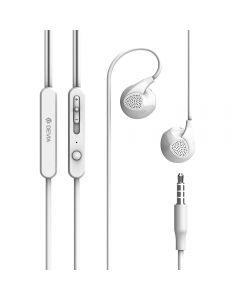 Casti Stereo 3.5 mm Devia D2 Ripple Alb (handsfree - telecomanda, microfon)
