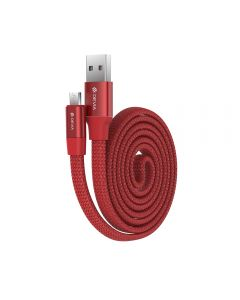 Cablu MicroUSB Devia Ring Red (0.8m, impletitura nylon, 2.4A)