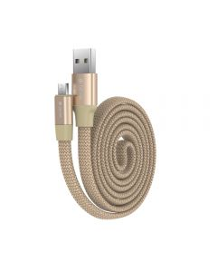 Cablu MicroUSB Devia Ring Champagne Gold (0.8m, impletitura nylon, 2.4A)