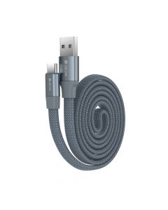 Cablu Type-C Devia Ring Gray (0.8m, impletitura nylon)