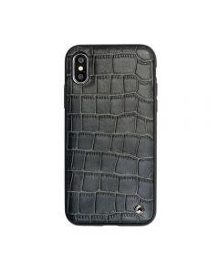Carcasa iPhone X Occa Skin II Black (piele naturala, textura croco, margini flexibile)