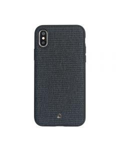 Carcasa iPhone X Occa Linen Car Black (margini flexibile, material textil, placuta metalica integrat
