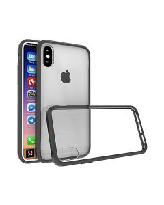 Carcasa iPhone X Just Must Pure II Black (spate transparent, margini flexibile)