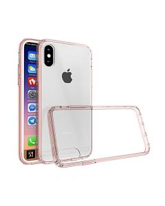 Carcasa iPhone X Just Must Pure II Pink (spate transparent, margini flexibile)