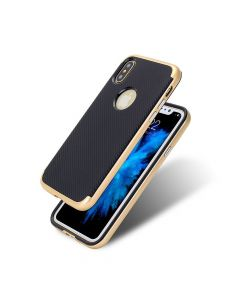Carcasa iPhone X Just Must Arm Duo Gold (spate textura carbon negru)
