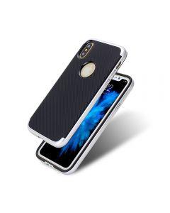Carcasa iPhone X Just Must Arm Duo Silver (spate textura carbon negru)