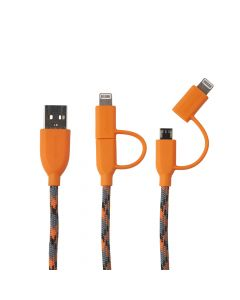 Cablu MicroUSB & Lightning MFI Boompods Duo Orange (1m, impletitura textila)