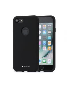 Husa iPhone 8 Meleovo Liquid Silicone Jacket Black (touch ultrasoft, catifelat)