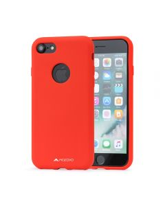Husa iPhone 8 Meleovo Liquid Silicone Jacket Red (touch ultrasoft, catifelat)
