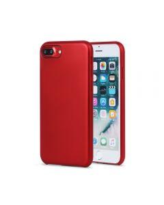 Carcasa iPhone 8 Plus Meleovo Pure Gear II Red (culoare metalizata fina, interior piele intoarsa)