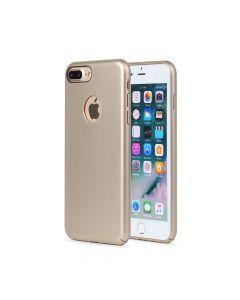 Carcasa iPhone 8 Plus Meleovo 360 Shield Gold (culoare metalizata fina, captuseala din microfibra)