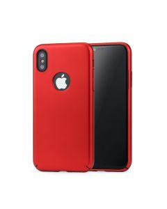 Carcasa iPhone X / XS Meleovo 360 Shield Red (culoare metalizata fina, captuseala din microfibra)