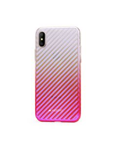 Carcasa iPhone X Meleovo Cameleon Flash Carbon Red (cu reflexii Blue)