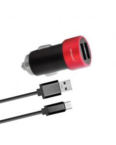 Incarcator Auto MicroUSB Lemontti 3.1A Dual USB Negru-Rosu