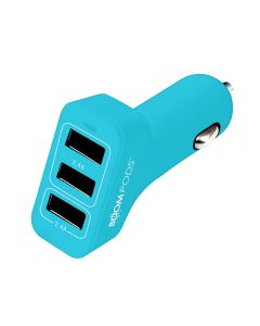 Incarcator Auto Boompods 4.8A Trio Power Blue (3xUSB, led indicator, incarcare rapida)