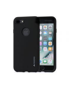 Husa iPhone 8 Plus Meleovo Liquid Silicone Jacket Black (touch ultrasoft, catifelat)