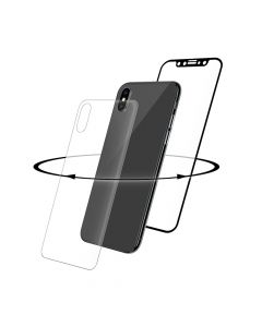 Folie iPhone X / XS Eiger Sticla 3D 360° Clear Black (0.33mm, 9H, curved, folie sticla spate inclusa