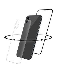 Folie iPhone X / XS Eiger Sticla 3D 360 Clear Black (0.33mm, 9H, curved, folie sticla spate inclusa