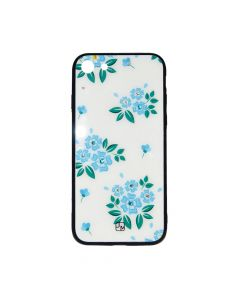 Carcasa iPhone 6/6S Just Must Glass Diamond Print White with Blue Flowers