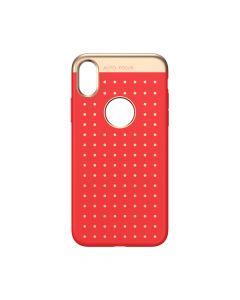 Husa iPhone X Baseus Silicon Star Lighting Red (cu buline gold)