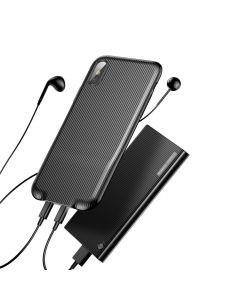 Carcasa iPhone X Baseus Audio Black (cu splitter Lightning)