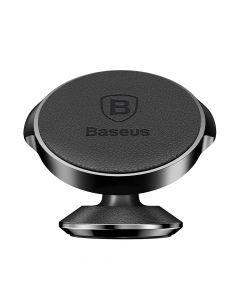 Suport Baseus Auto Small Ears Magnetic Black (piele naturala, rotatie 360�, cu adeziv)
