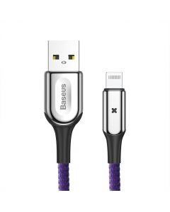 Cablu Lightning Baseus X-type Light USB Purple (1m, output 2.4A, impletitura polyester)