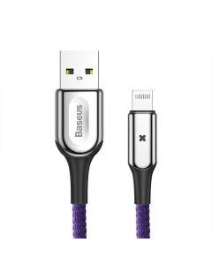 Cablu Lightning Baseus X-type Light USB Purple (1m, output 2.4A, impletitura polyester)